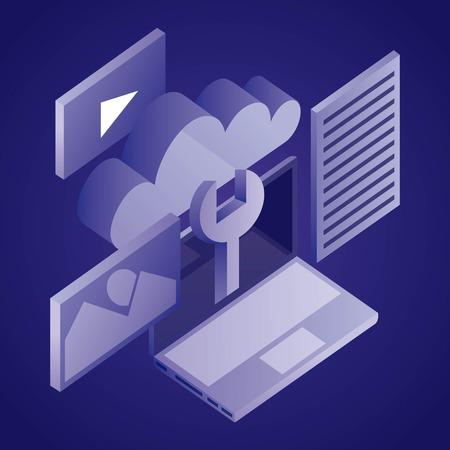 data network cloud wrench computer photo videos vector illustration Illusztráció