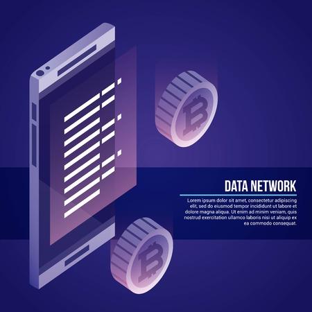data network smartphone information background vector illustration