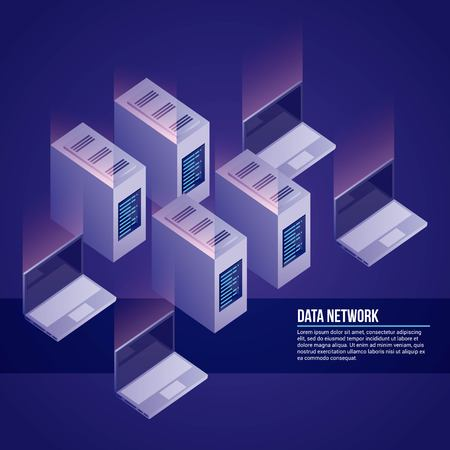data network computers towers base vector illustration Illustration