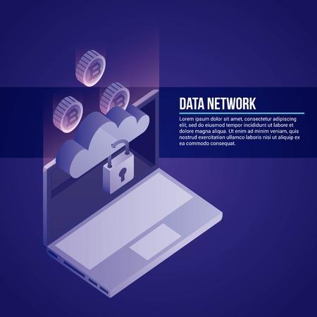 data network computer cloud padlock protection vector illustration