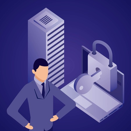 data network datacenter computer security padlock vector illustration