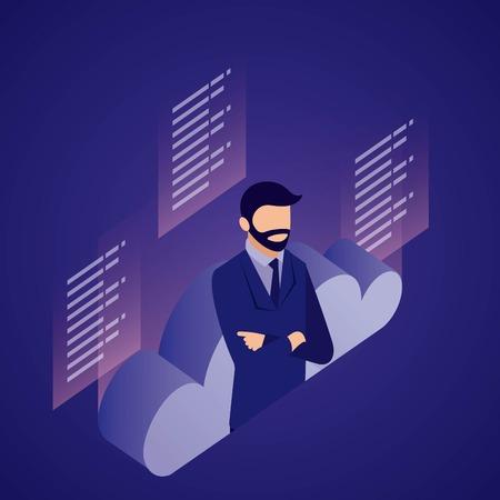 data network businessman crossed arms cloud information vector illustration
