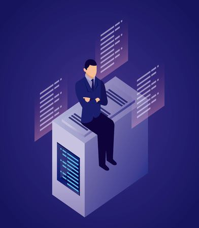 data network businessman sitting dataserver information vector illustration Illustration