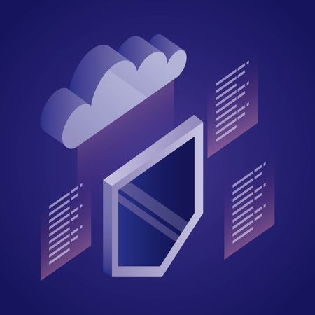 data network shield security information cloud vector illustration