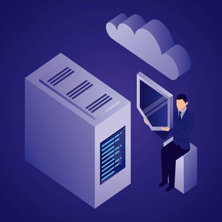 data network dataserver businessman holding shield cloud safety vector illustration