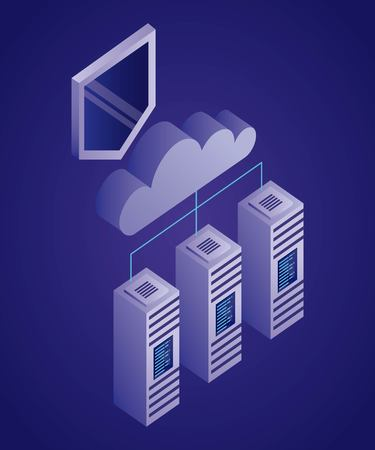 data network dataserver connection cloud shield vector illustration