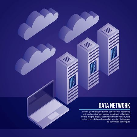 data network towers base computer clouds protection vector illustration