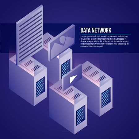 data network towers base photos videos safe vector illustration  イラスト・ベクター素材
