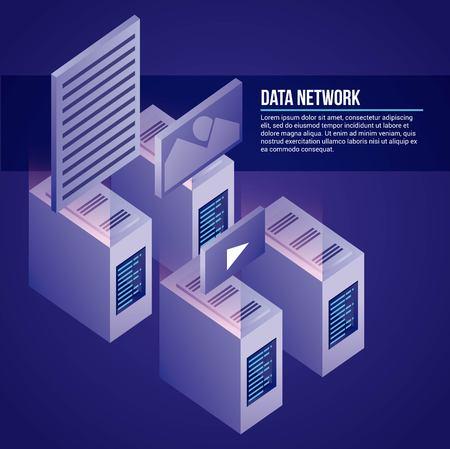 data network towers base photos videos safe vector illustration Illustration