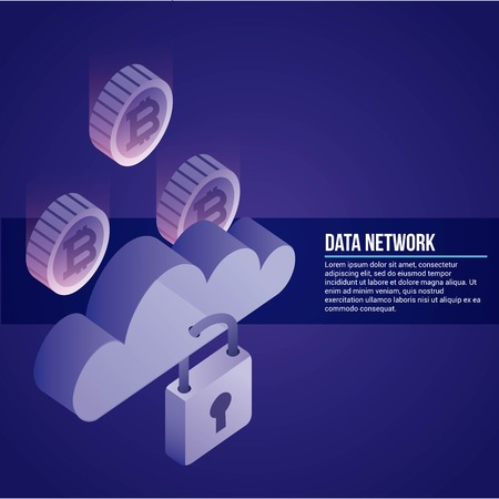 data network padlock clouds safe protection information vector illustration