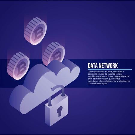 data network padlock clouds safe protection information vector illustration