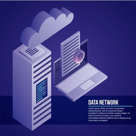 data network computer document cloud tower safe vector illustration Illusztráció