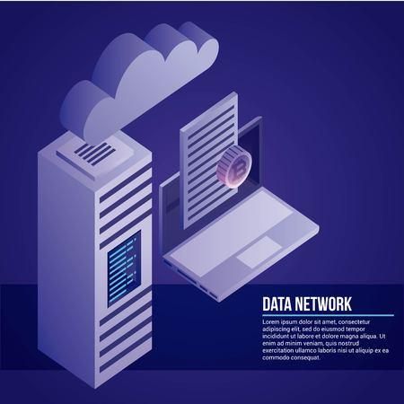 data network computer document cloud tower safe vector illustration Illustration