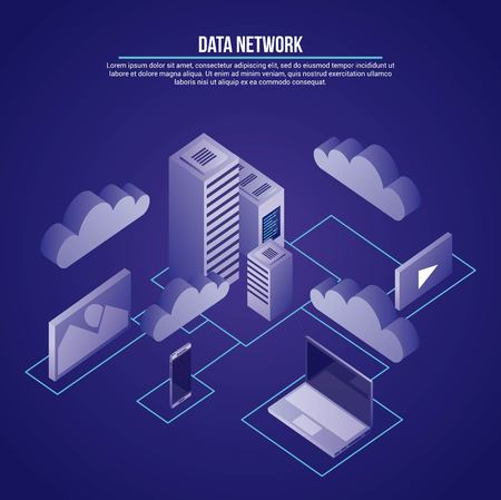 data network cloud computer smartphone technology safe photos vector illustration