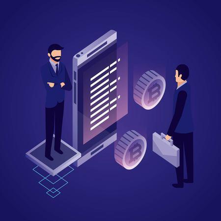 data network businessman smartphone information bitcoins vector illustration