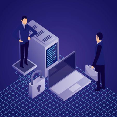 data network businessman computer datacenter padlock vector illustration Illustration