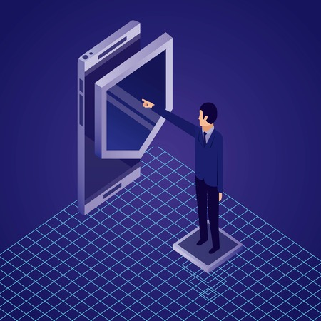 data network businessman pointed shield smartphone vector illustration Illustration