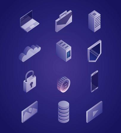 data network message shield smartphone padlock photos computer cloud vector illustration