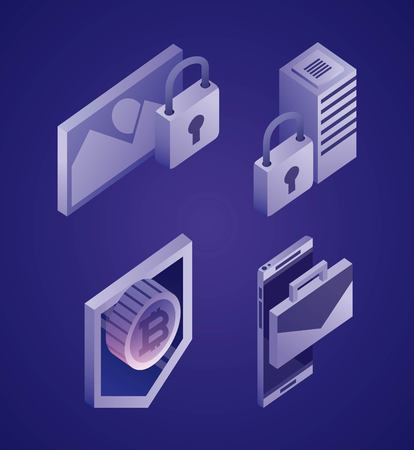 data network photo padlock dataserver bitcoin smartphone vector illustration Illustration