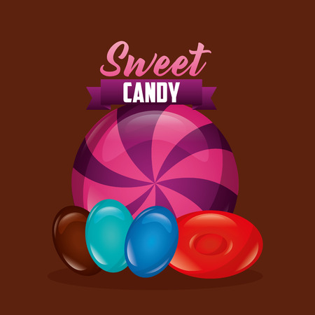sweet candy almonds mint sign colors vector illustration Illustration
