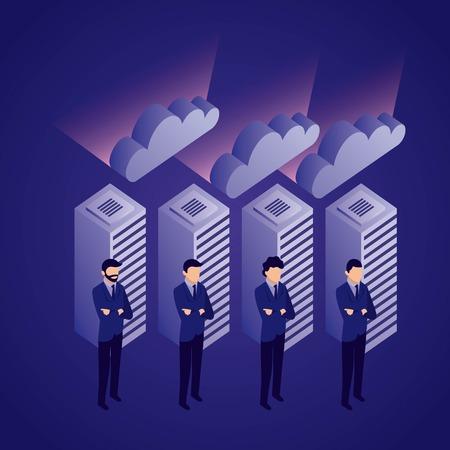 data network businessman dataserver clouds security safe vector illustration