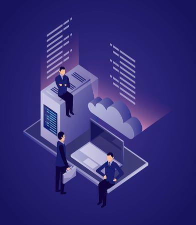 data network businessman datacenter computer cloud safe vector illustration