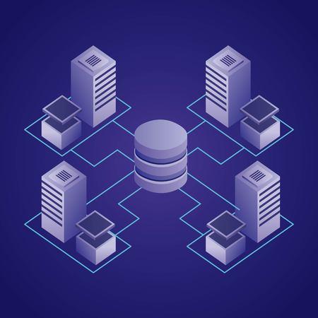 data network datacenter base information vector illustration
