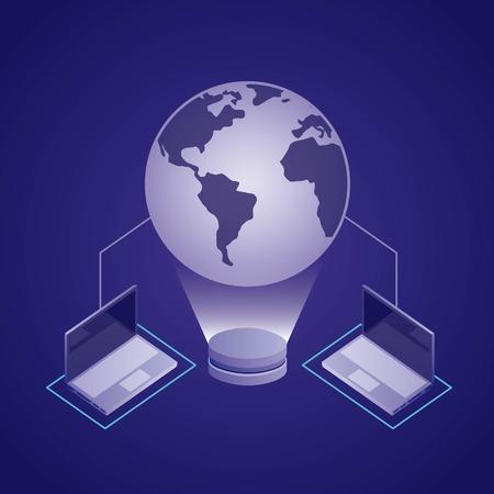 data network hologram computers connection vector illustration Ilustração