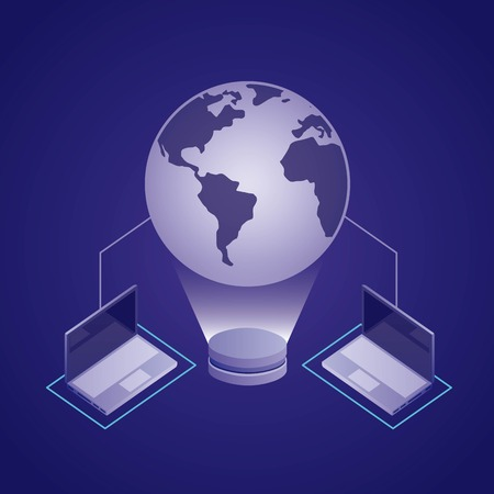 data network hologram computers connection vector illustration Illustration