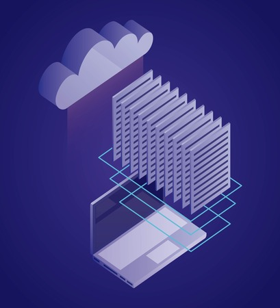 data network documents computer cloud safety vector illustration