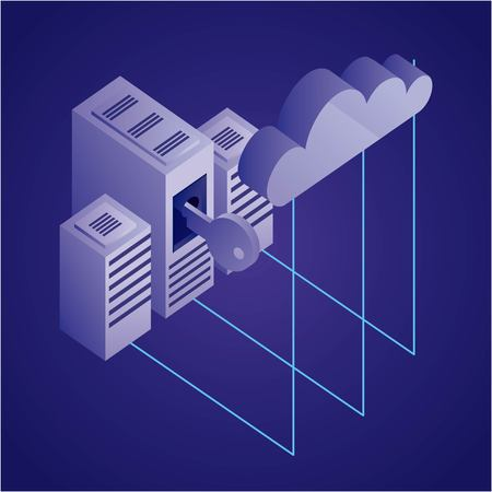 data network datacenter connection security cloud safety vector illustration