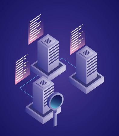 data network datacenter information magnifying glass vector illustration
