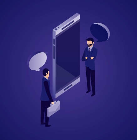 data network smartphone businessman talking vector illustration