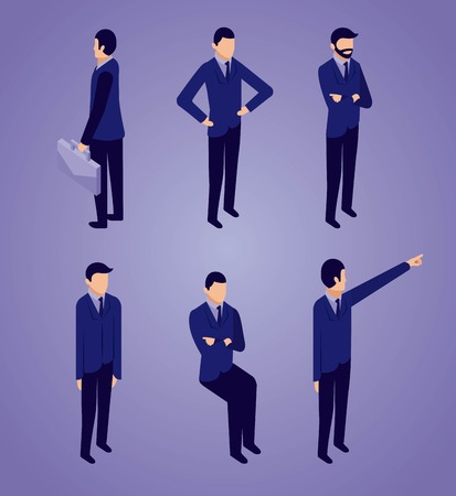 data network businessman sitting standing pointed and holding portfolio vector illustration