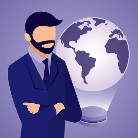 data network businessman crossed arms hologram world vector illustration