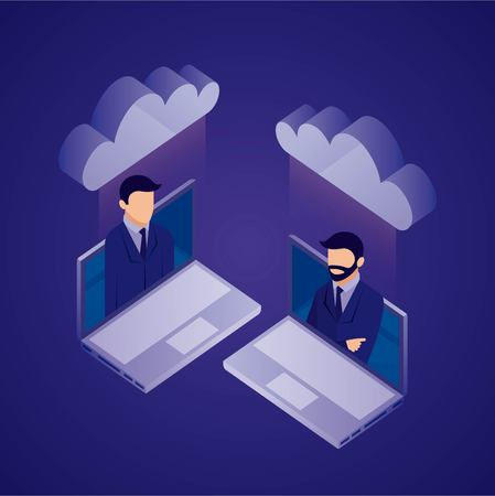 data network businessman screen computers clouds safety vector illustration