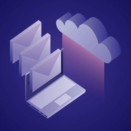 data network computer messages cloud information vector illustration Ilustração