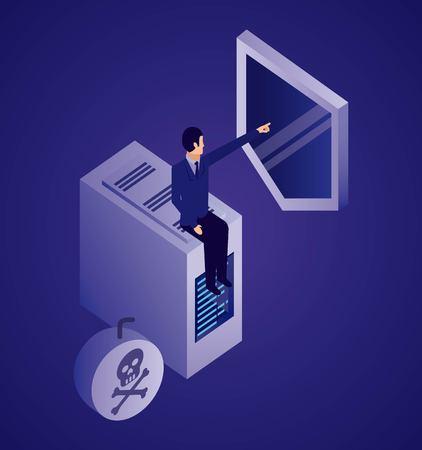 data network businessman pointed shield dataserver virus attack vector illustration
