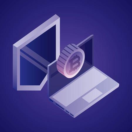 data network shield computer bitcoin vector illustration