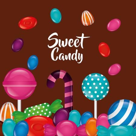sweet candy bombom candy cane alminds bananas sign vector illustration Ilustração