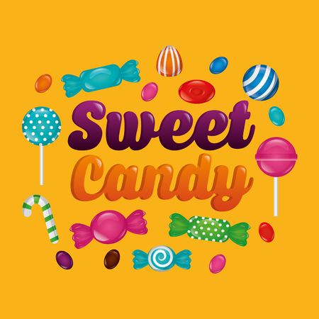 sweet candy color sign bombom alminds mints bananas cane candy vector illustration Illustration