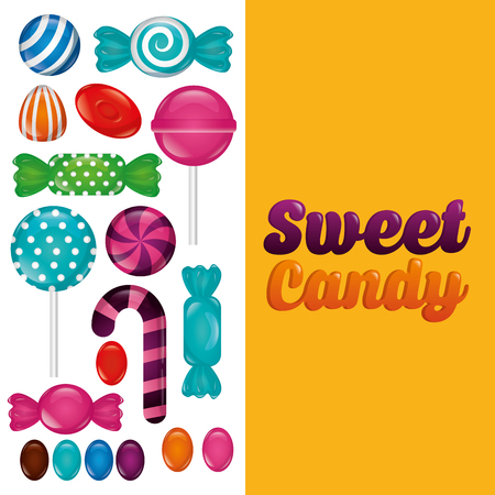 sweet candy banner sign color bananas bombom alminds mints vector illustration