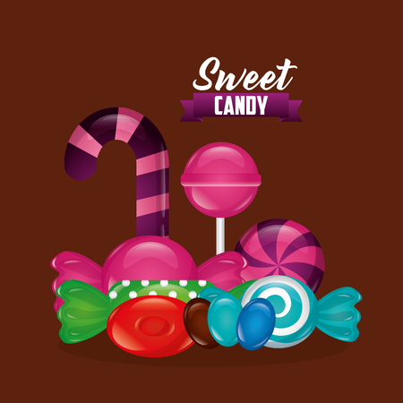 sweet candy alminds bombom candy cane bananas vector illustration Illustration