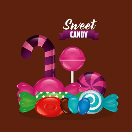 sweet candy alminds bombom candy cane bananas vector illustration Ilustração