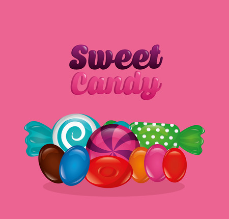 sweet candy sign colors bananas alminds vector illustration Illustration