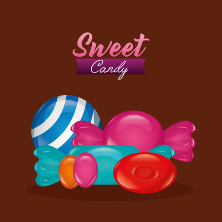 sweet candy alminds colors mint sweet balls vector illustration