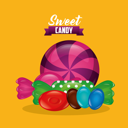 sweet candy alminds mint sweet balls ribbon sign vector illustration