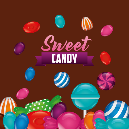 sweet candy bombom alminds mints bananas ribbon signs vector illustration