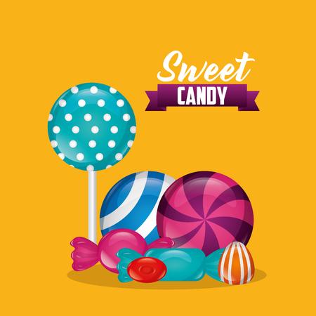 sweet candy bombom alminds bananas mint vector illustration