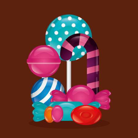 sweet candy bombom candy cane bomboms alminds vector illustration